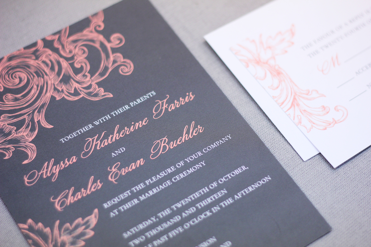 gray and coral vintage wedding invitation