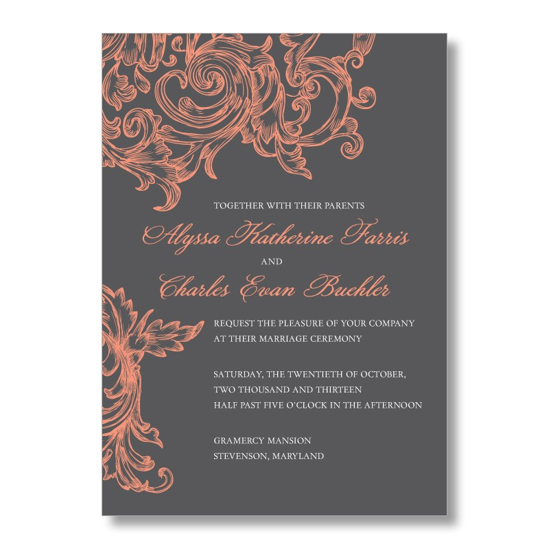 gray and coral wedding invitations