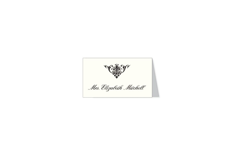 Dapper Damask thermography wedding place card