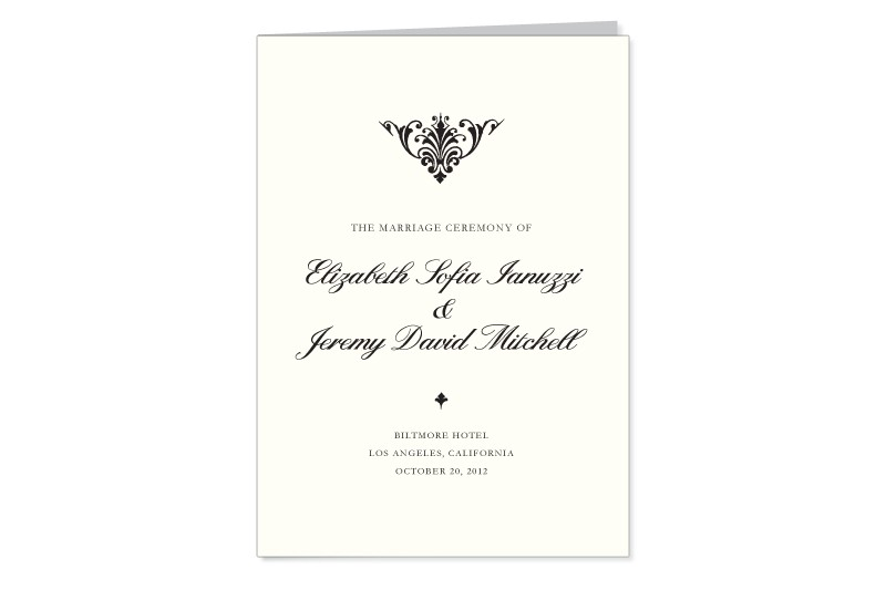 Dapper Damask thermography wedding program cover