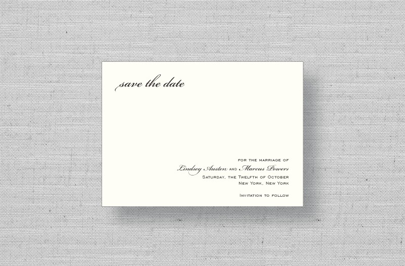 sophisticated script thermography wedding save the dates