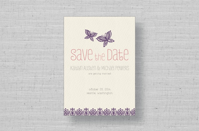 whimsical butterflies wedding save the dates