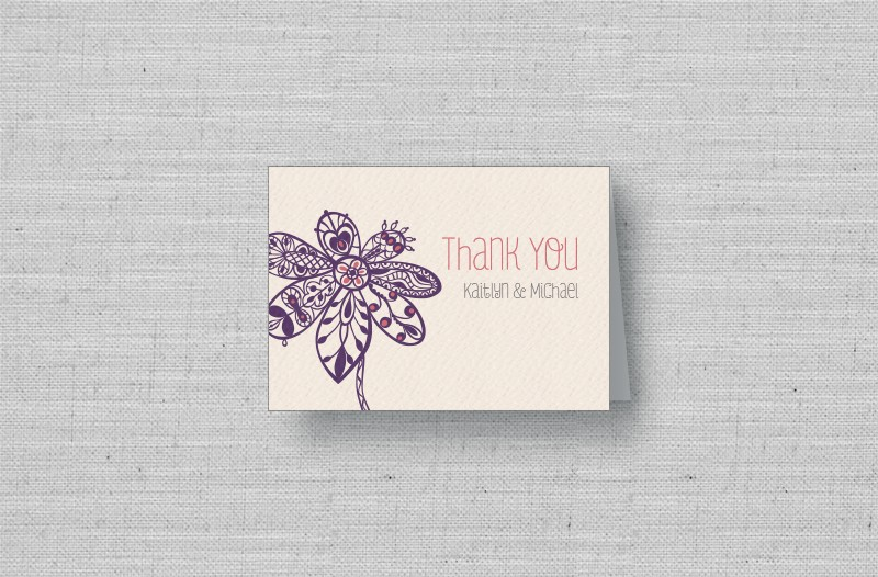 Lace Flowers personalized thank you cards