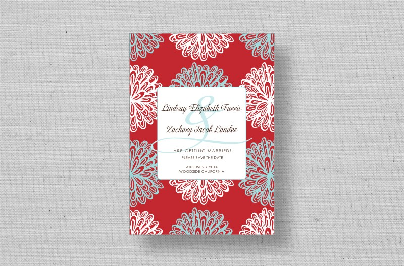 modern red floral wedding save the dates