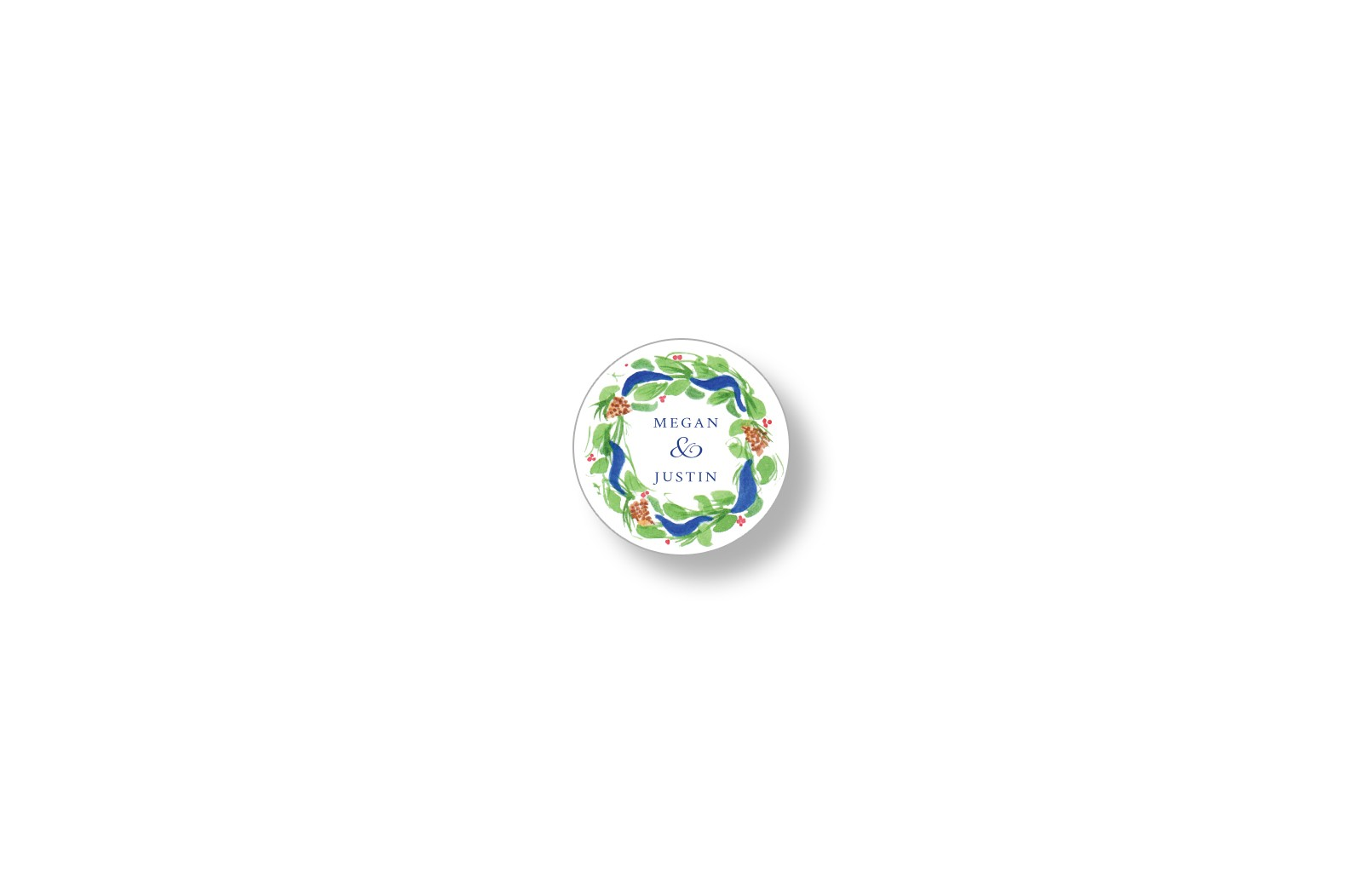 pine wreath round personalized stickers