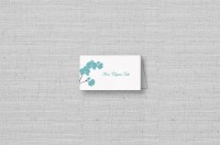 Modern Orchids table place card-aqua