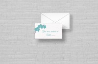 Modern Orchids seating cards-aqua