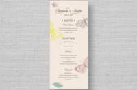 rustic butterfly wedding menu cards