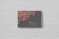 vintage floral wedding thank you cards - coral