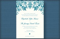 damask thermography wedding invitations - teal