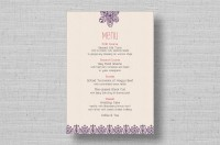 Lace Flowers wedding menu cards
