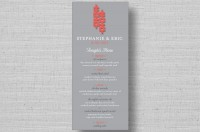 modern double happiness wedding reception menu cards