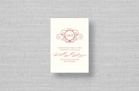 monogram thermography wedding reception cards
