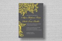 yellow and grey vintage floral swirl wedding invitations