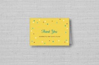 yellow personalized confetti wedding thank you cards