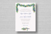 Brushed Pine Watercolor Wedding Invitations